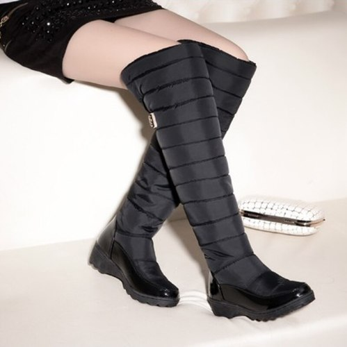 Women Knee High Boots Mid Heels Shoes Warm Winter Fur