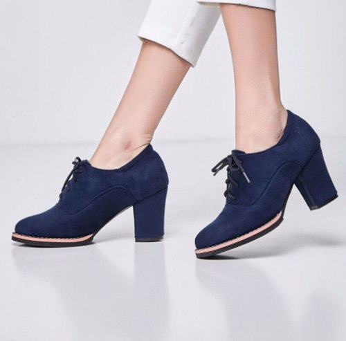 Women Ankle Boots High Heels Pumps Girls Lace Up Shoes Woman