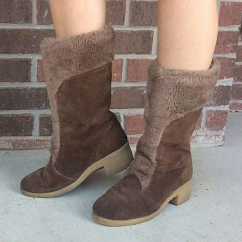 Women Mid-Calf Boots Chunky Mid Heels Booties Winter Snow Warm