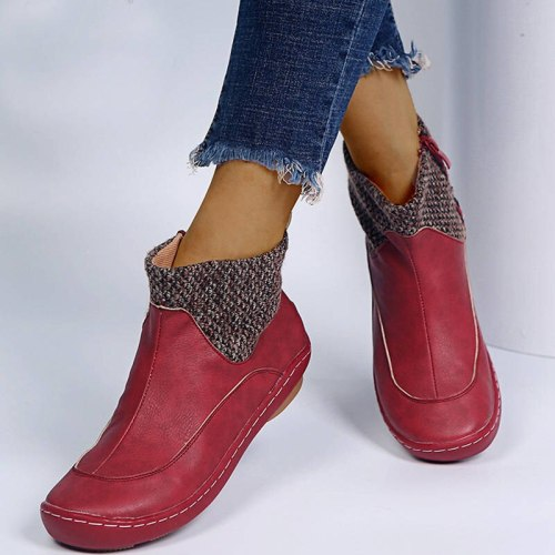 Women Ankle Boots Flats Shoes Vintage PU Leather