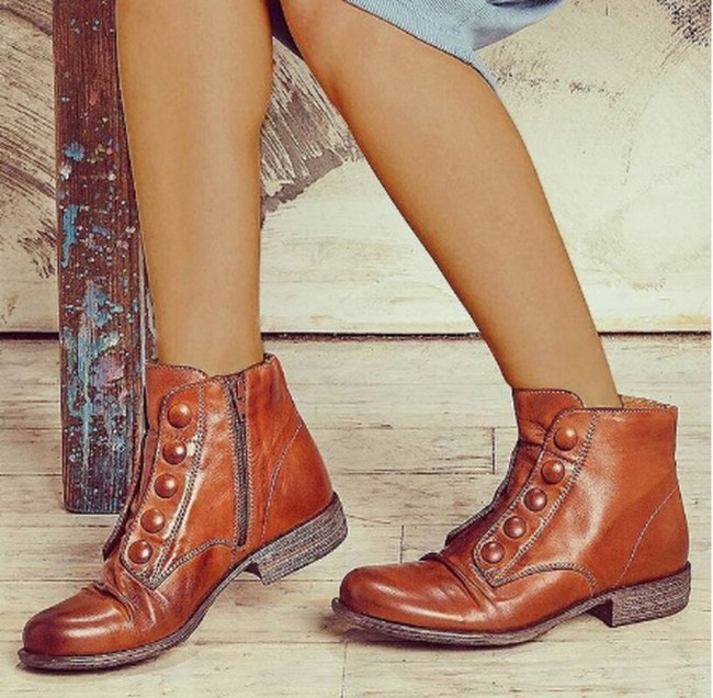 Women Ankle Low Heels Matin Boot Shoes