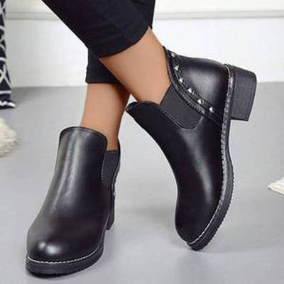 Women Ankle Boots Mid Heels Plus Size Matin Shoes