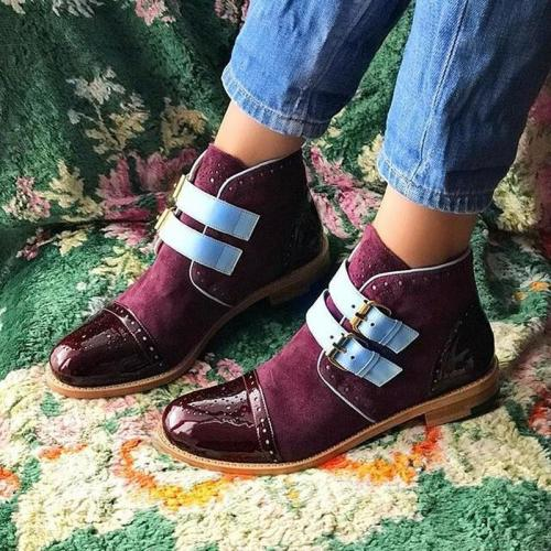 Women Ankle Boots Low Heels Vintage PU Leather Buckle Shoes