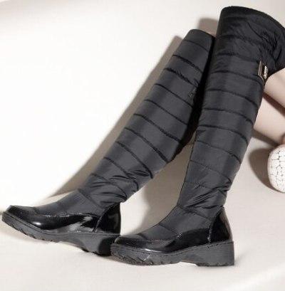 Women Knee High Boots Mid Heels Shoes Warm Winter Fur