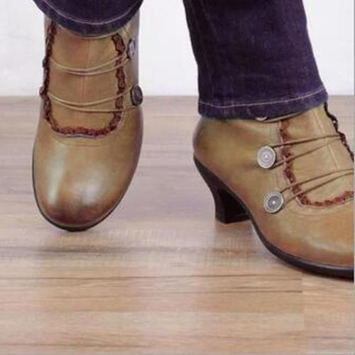 Women Ankle Boots High Heels Vintage PU Leather Booties Plus Size Shoes