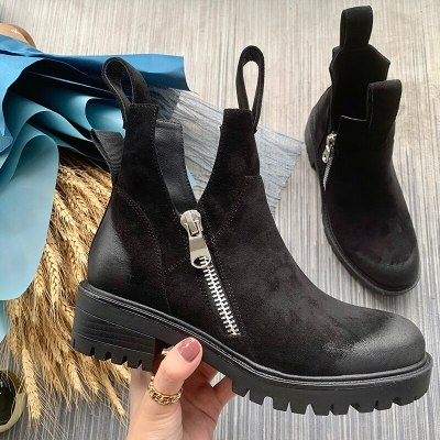 Women Ankle Boots Low Heels Pumps Matin Shoes