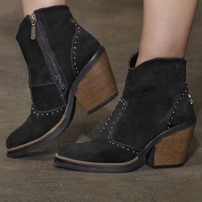 Women Ankle Boots Leather Retro Boots Cowboy Shoe