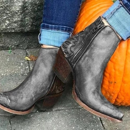Women Ankle Boots Mid Heels Plus Size Vintage PU Leather Pointed Toe Matin Shoes