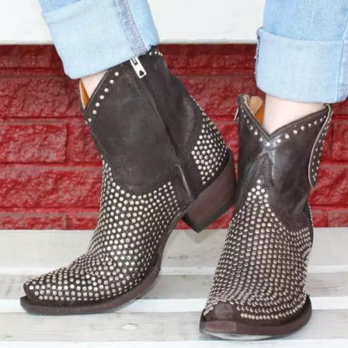 Women Low Heels Pumps Ankle Boots Gladiator Booties PU Shoes