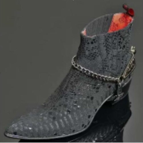 Men Ankle Boots Shoes Male Man Vintage PU Leather Slip on Shoe