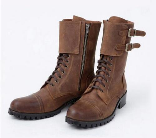 Retro Winter Boots Men Cowboy Leather Shoes Round Toe