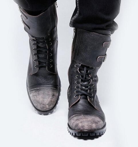Retro Winter Boots Men Cowboy Leather Shoes Round Toe