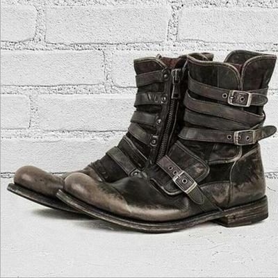 Men Plus Size Ankle Boots Matin Shoe Vintage PU Leather