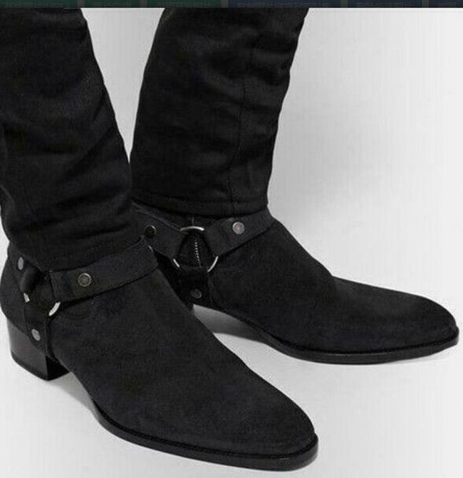 Mens Casual Suede Pointed Toe Ankle Riding Boots Chunky Heel