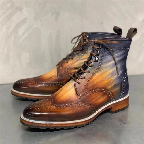 Men Ankle Boots Male Man Shoe Vintage PU Leather Booties