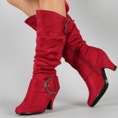 Women Mid-Calf Boots Gladiator Plus Size Chunky High Heels Winter Warm Shoes