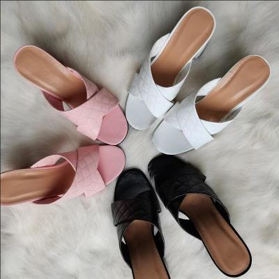 Women Pumps Chunky High Heels PU Leather Sexy Summer Sandals Party Shoes