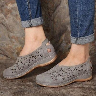 Women Pumps Mid Heels Wedges Shoes Vintage PU Leather Gladiator Plus Size Female