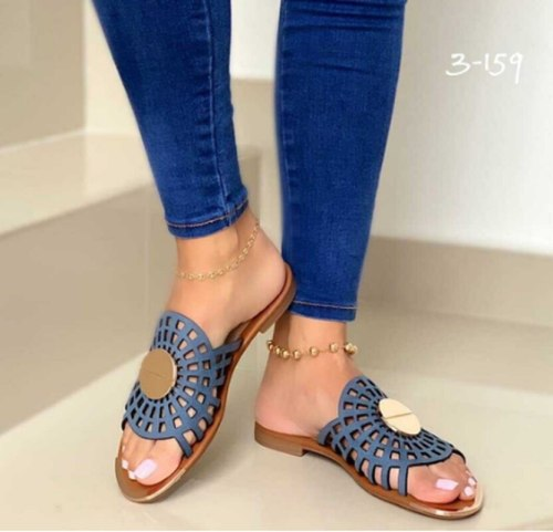 Sexy Women Flat Party Ladies Pu Leather Slipper Sexy Sandals Shoes Female