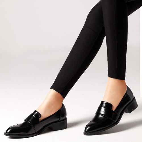 Women Low Heels Pumps Loafers PU Leather Shoes Pumps Office Ladies Pointed Toe