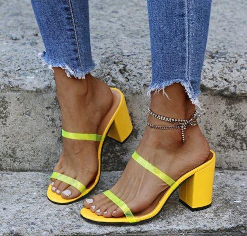 Women Pumps Chunky High Heels Summer Sandals Slippers Shoes