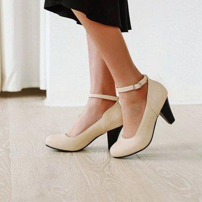 Women Summer Pumps High Heels Office Ladies Shoes Round Toe PU Leather Footwear