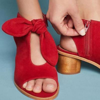 Women Summer Sandals Peep Toe Chunky High Heels Pumps Wedding Shoes
