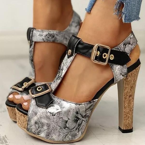 Women High Heels Pumps Platform Peep Toe Sandals Vintage PU Leather Gladiator