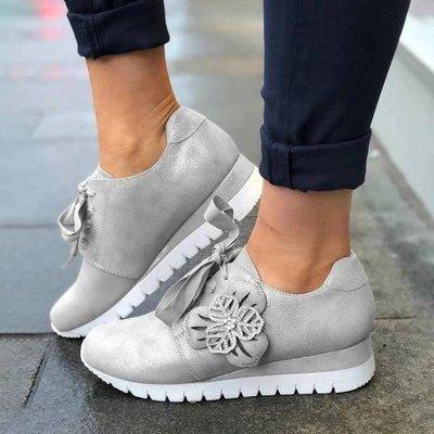Women Low Heels Pumps Suede Pump Lace Up Casual Wedges