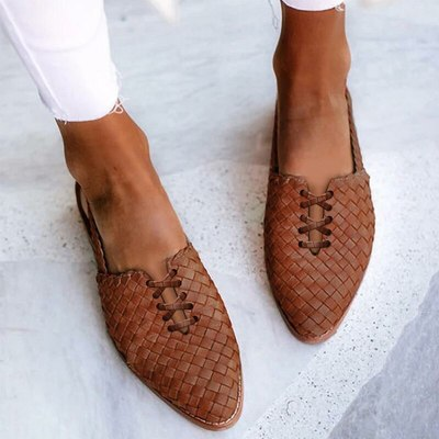 Women Flats Shoes Woman Vintage PU Leather Plus Size Pointed Toe Gladiator
