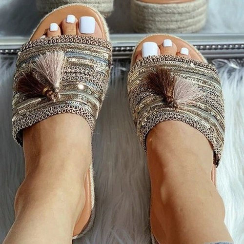 Women Summer Beach Sandals Flats Plus Size Shoes Slides Slippers Low Heel