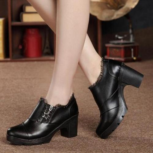 Women Pumps Chunky High Heels PU Leather Shoes Sexy Female
