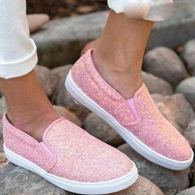 Women Flats Casual Shoes Flat Shoe Bling Loafer