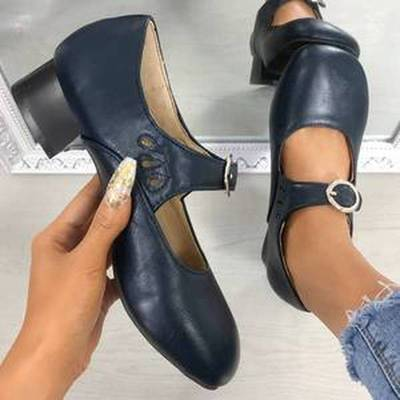 Women Pumps Chunky Low Heels Ladies PU Leather Buckle Shoes Female