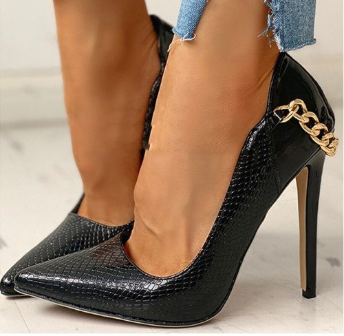 Women Pumps Thin High Heels PU Leather Warm Sexy Party Pointed Toe Shoes