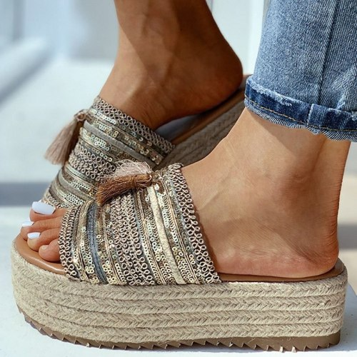 Women Summer Beach Sandals Flats Plus Size Shoes Slides Slippers Low Heel