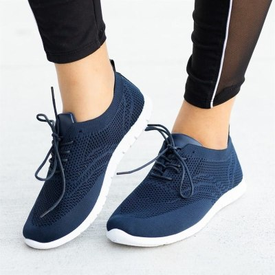 Women Flats Casual Shoes Plus Size Sneakers Sports Shoe Lace Up
