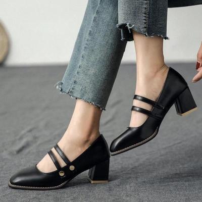 Women Pumps Mid Heels Plus Size Slip On PU Leather Party Wedding