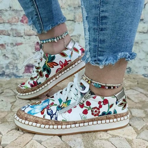 Women Flats Shoes Woman Lace Up Plus Size Vintage PU Leather Soft Simple