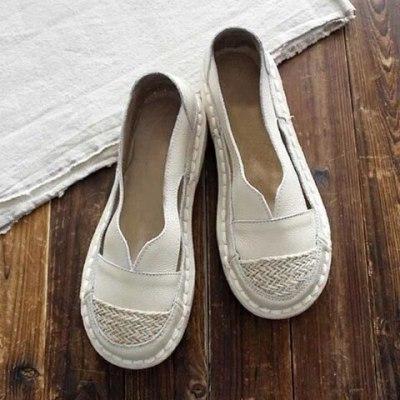 Women Flats Shoes Plus Size PU Leather Shoe Round Toe Sandals