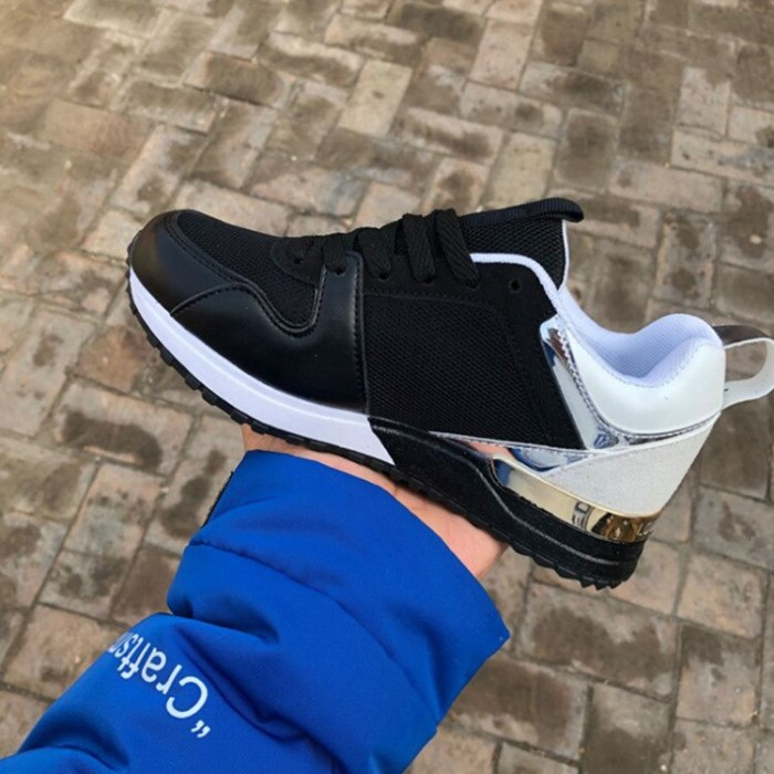 Women Flats Casual Shoes Plus Size Lace-Up Running Sports