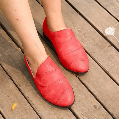 Women Flats Shoes PU Leather Flat Loafers Slip On Woman