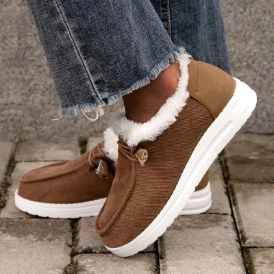 Women Flats Casual Shoes Plus Size Flats Short Boots Winter Snow Warm