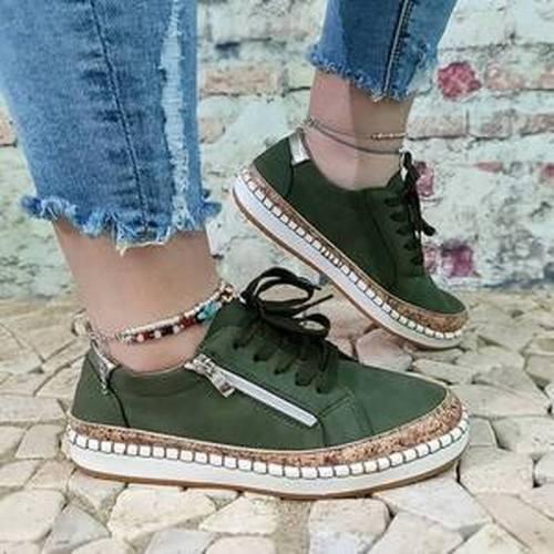 Women Flats Shoes Woman Lace Up Plus Size Vintage PU Leather Soft Simple