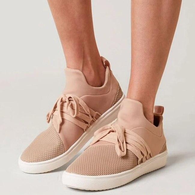 Women Flats Shoes Woman Lace Up Plus Size Sneakers Sports