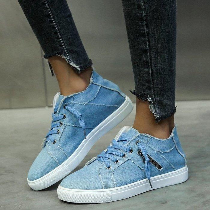 Women Flats Casual Shoes Woman Plus Size Canvas Flat Sneakers Shoe Lace Up