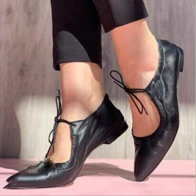 Women Flats Shoes Woman Plus Size Lace Up Pointed Toe PU Leather Shoe