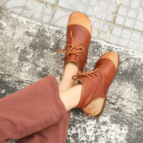 Women Flats Casual Shoes Woman Plus Size Vintage PU Leather Flats Lace Up Shoe
