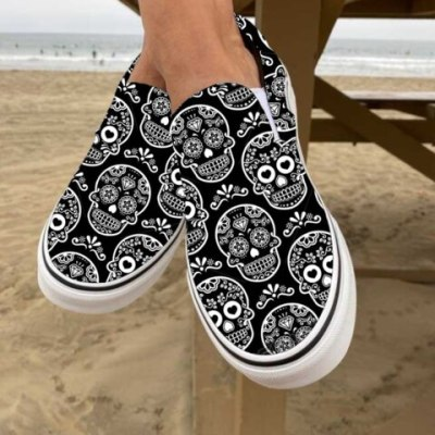 Women Flats Shoes Plus Size Canvas Fabric Flat Casual Loafers