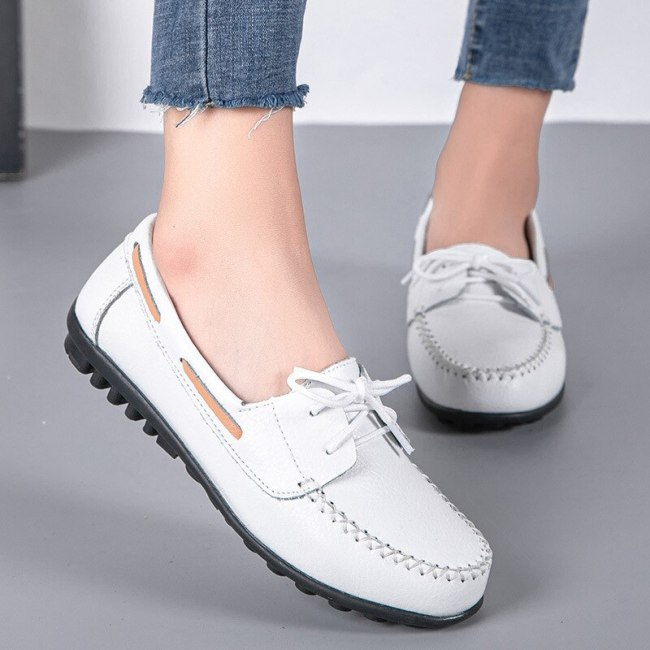 Women Flats Casual Shoes Plus Size PU Leather Flats Lace Up